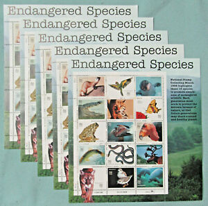 New 75 (5 Souvenir Sheets x 15) ENDANGERED SPECIES 32¢ US Postage Stamps # 3105
