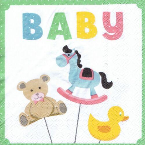 PAPER NAPKINS BIRTH BABY TOYS SERVIETTES EN PAPIER NAISSANCE BEBE JOUETS