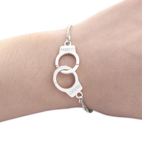 Bracelet Gourmette avec des Menottes Femme Homme Liberté 50 nuances de grey NOEL