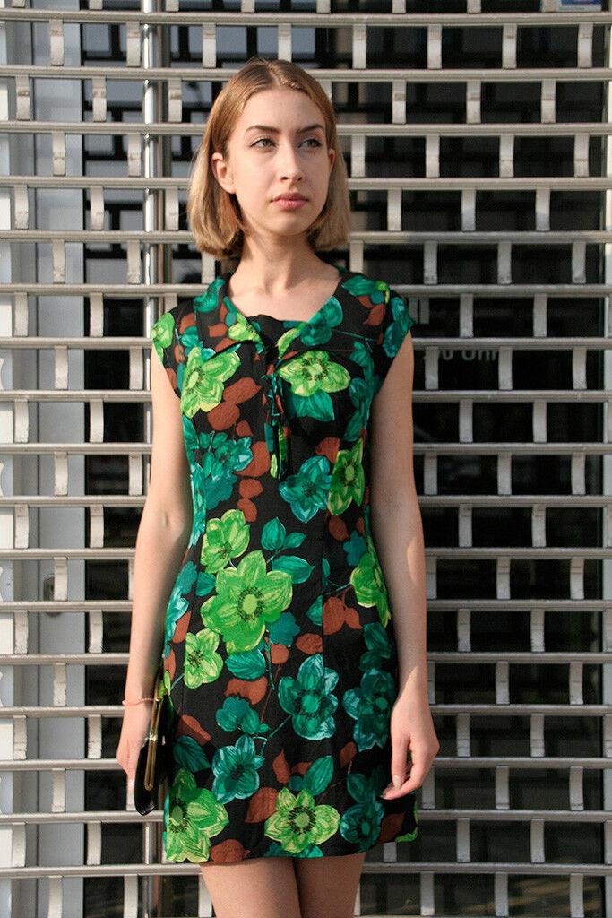 Damen Kleid Minikleid Blaumen 60er True VINTAGE damen dress flower power 60s