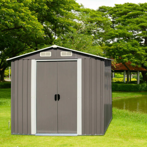 Utility Tool House with Door Galvanized Steel Tool Shed House for Patio Garden Backyard Lawn Dark Grey 6 x 4 FT Outdoor Storage Shed