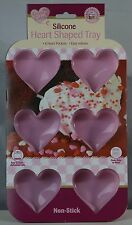 New Non-Stick Silicone Heart Shaped Tray 6 Heart Dishwasher Freezer Oven Safe