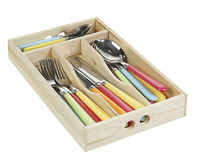 24pcs Stainless Steel Cutlery Set In Wooden Box Kitchen Drawer Organiser Utensil