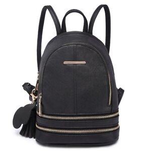 5702988be New Ladies Black Stylish PU Leather Laptop iPad Womens Backpack ...