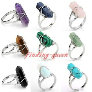 1x-Crystal-Quartz-Hexagon-Gem-Stone-Wire-Wrap-Prism-Healing-Chakra-Finger-Ring