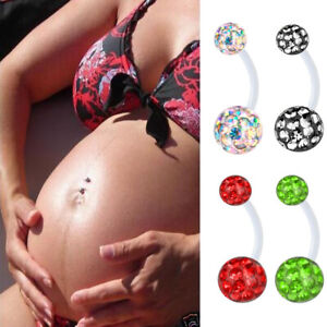 Details About Maternity Piercing Cz Crystla Pregnancy Belly Button Navel Ring Barbell Flexible