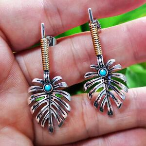 Vintage-Bohemian-Dangle-Ear-Stud-925-Silver-Turquoise-Hook-Earrings-Jewelry-Gift