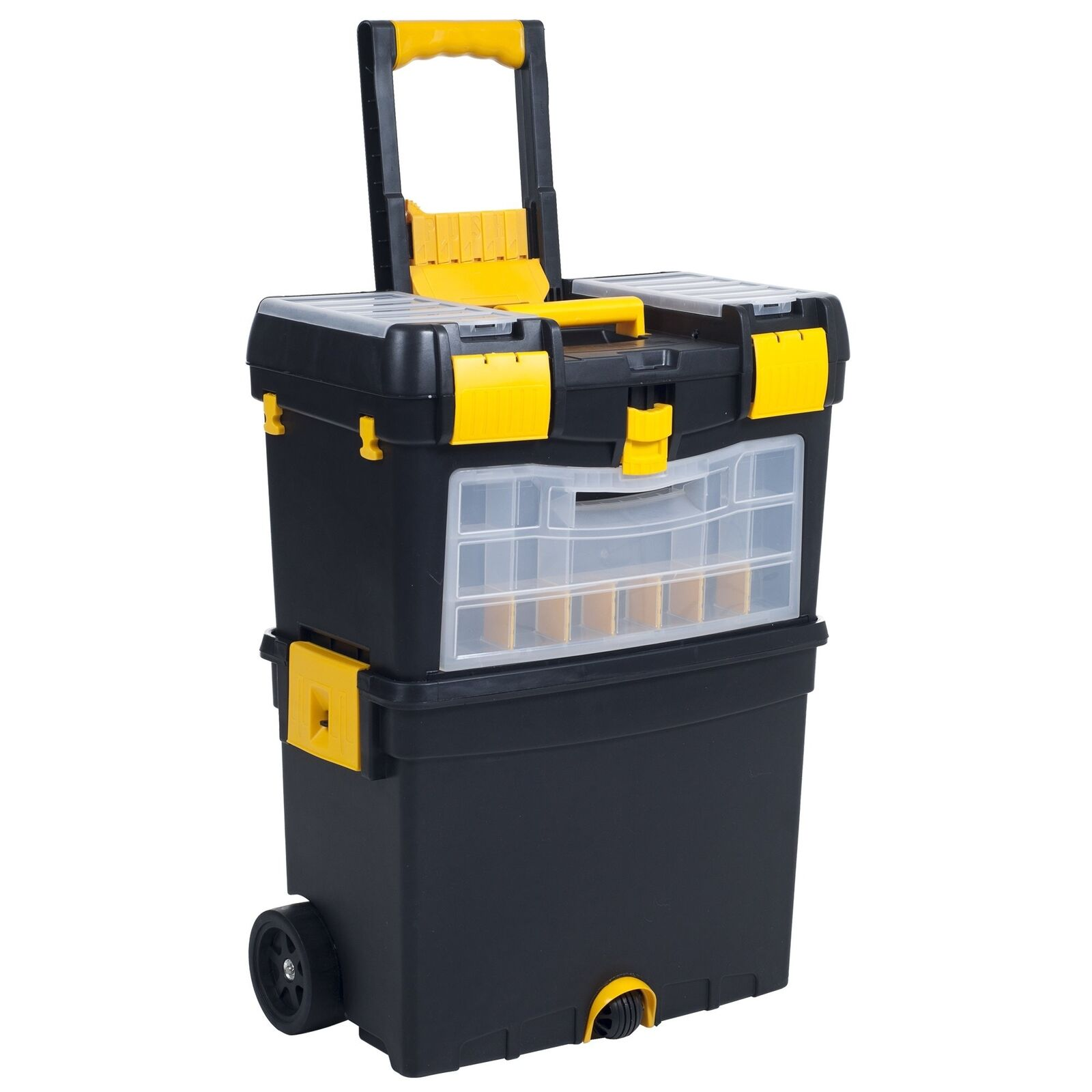Heavy Duty Rolling Toolbox with Foldable Comfort Handle  Removable Top Storage