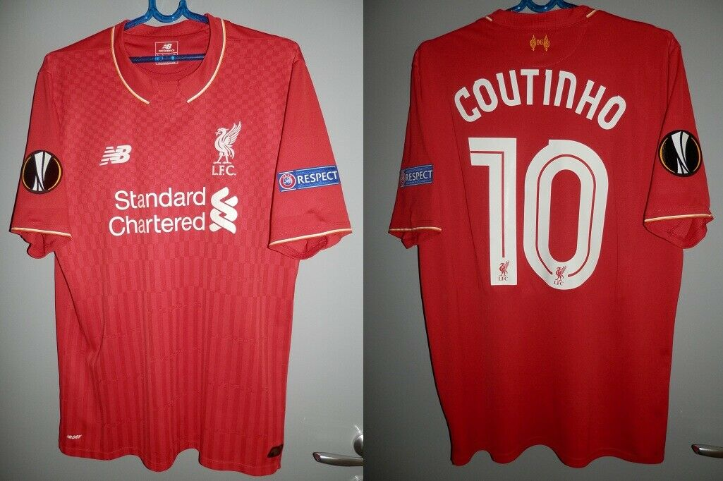 SHIRT LIVERPOOL 2015-2016 COUTINHO BRAZIL EUROPA LEAGUE JERSEY NEW BALANCE