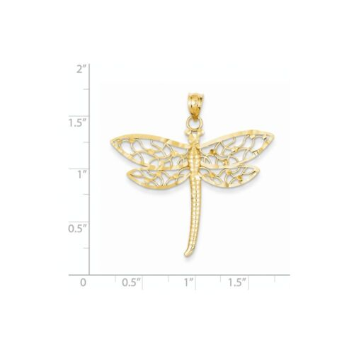 14K Or Jaune Diamant Coupe Dragonfly Charm Pendentif PDSF $346