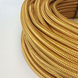 Textilkabel-Stoffkabel-Textilleitung-rund-gold-2x0-75mm-H03VV-F