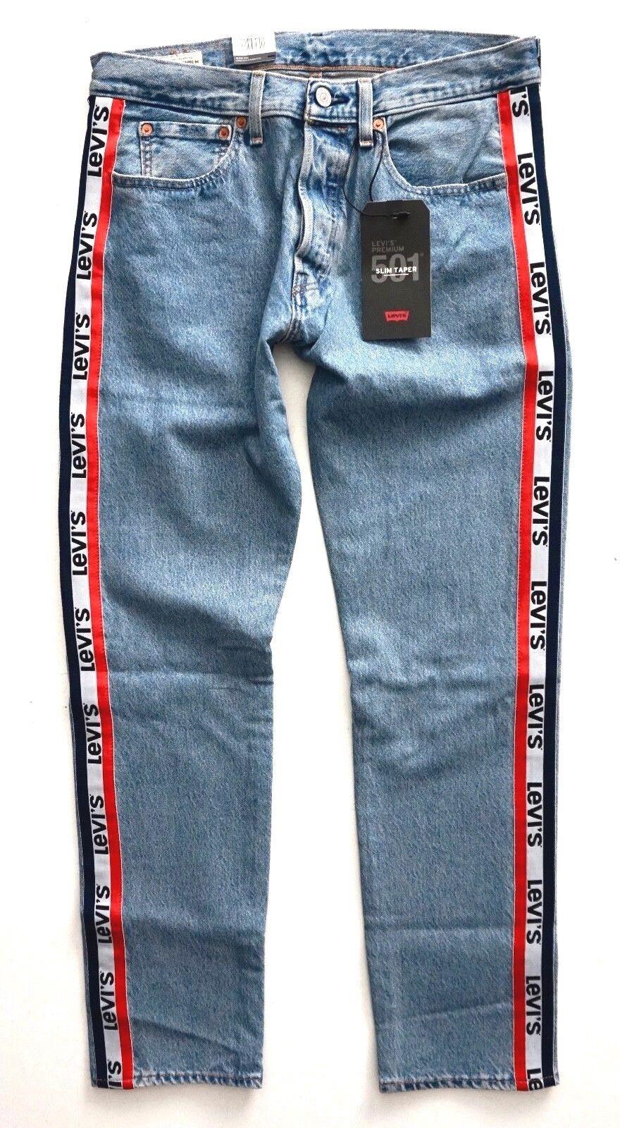 fatiga Subrayar Complicado  Levi's 501 Men's Taper Sports Stripe Jeans Levis Logo Size 32 X 34 for sale  online   eBay