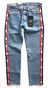 a96efc65 Levi's Levis Nwt Mens 501 Logo Taper Sports Stripe Jeans Light Wash ...