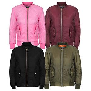 Boys Girls Jackets Kids Black Bomber Padded Quilted Zip Up Biker Jacket MA1 Coat