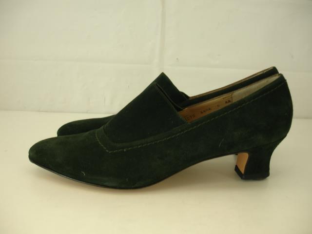 Damens 9 AA N Salvatore Ferragamo Grün Pump Suede Schuhes Pump Grün Heel Victorian Edwardian c88d44