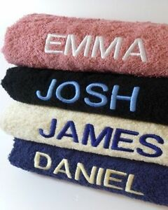 New-Embroidered-Personalised-Bath-Towel-Set-Unique-Gift