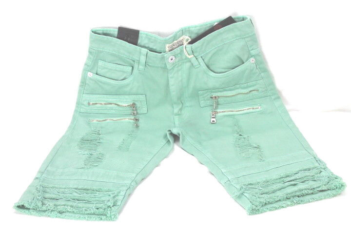 Smoke Rise DISTRESSED colorD DENIM SHORTS W. ZIPPERS MINT JS7116