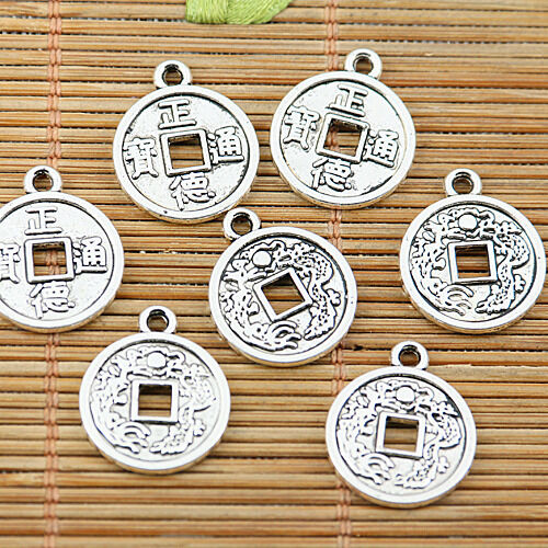 18pcs tibetan silver tone ancient Chinese coin design charms EF1962