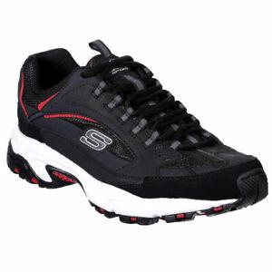 Skechers-Men-039-s-Stamina-Cutback-Low-Top-Sneaker-Shoes-Black-Red-Footwear-Active