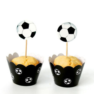 Cups Party Decoration Cupcake Wrapper Football Soccer Cake Topper Food Paper