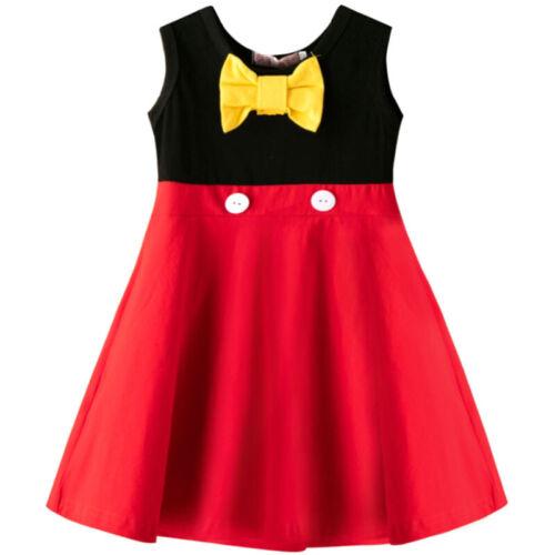Kid Girls Princess Dress Cartoon Polka Dot Bow Knot Party Dress Sleeveless Dress