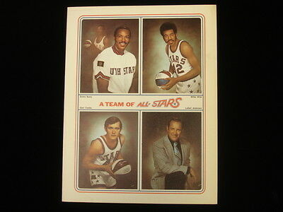 1970s ABA Utah Stars All-Star 6 Page Foldout Brochure NM