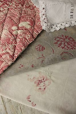 Antique Vintage French fabrics Toile de Alsace + FADED floral PROJECT BUNDLE