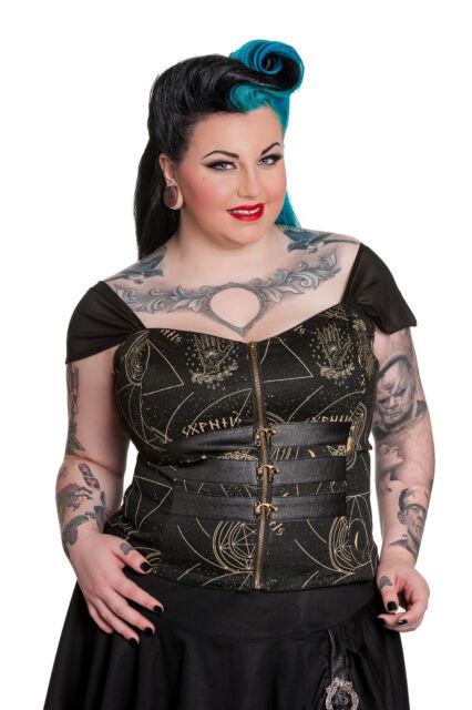 Spin Doctor Plus Size Pentagram Moon Skull Gothic Buckle Corset Top 1X 2X 3X