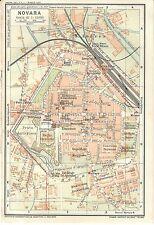 Carta geografica antica NOVARA Pianta della città 1914 Old antique map