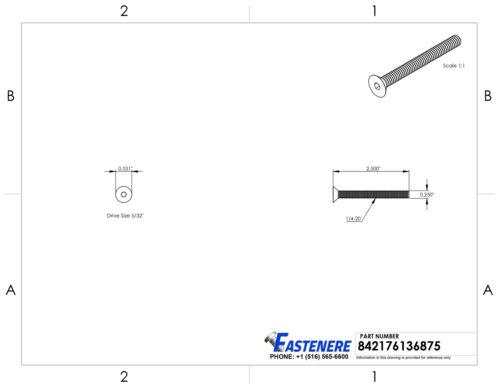 "1//4-20 x 2-1//2/"" Flat Head Socket Cap Screws Grade 8 Steel Black Oxide Qty 25"