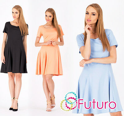 Women's Mini Dress Skater Style Coctail Casual Party Tunic Sizes 8-12 FA303