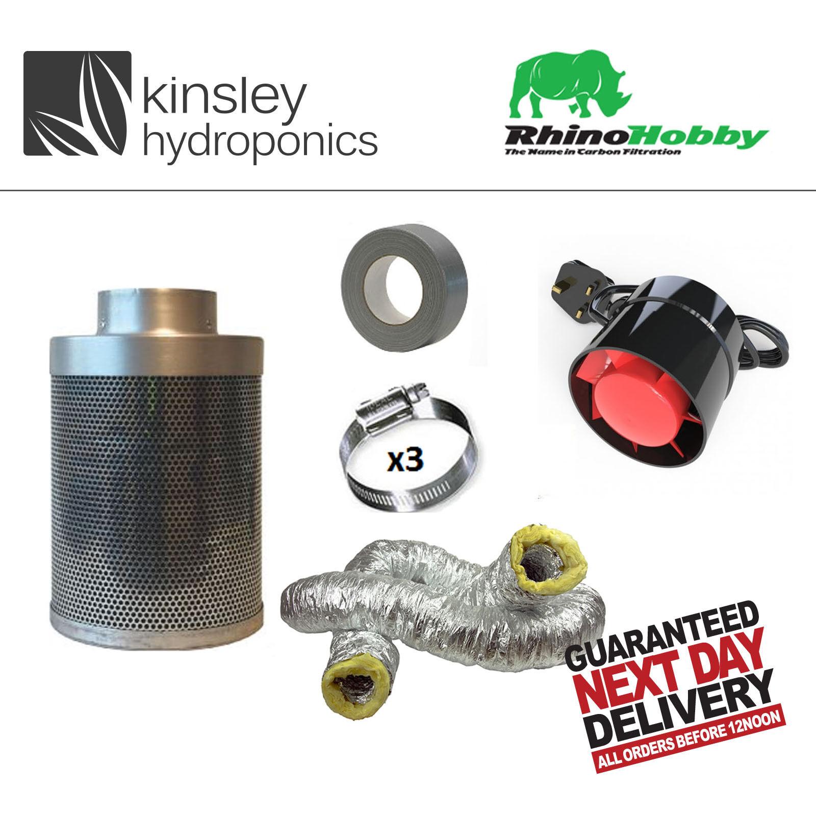 Rhino Hobby Kit de Filtro de Cochebón ventilador de extracción de olor conductos Hidroponía acústica