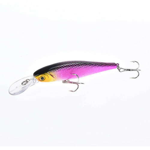 1pc 10cm//9.4g minnow hard fishing lures baits with two wobble floating hooks AB