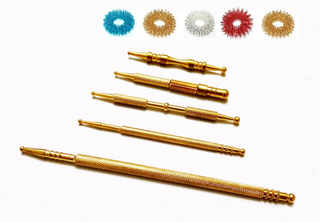 Sujok Probe Acupressure Brass Diagnostic Roller Jimmys Set (5 Types) +Free Rings