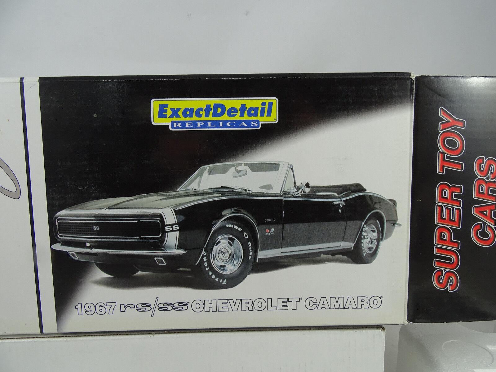 1 18 Exacto Detalle Súper Juguete 1967 Rs   Ss Camaro Converdeible Negro -