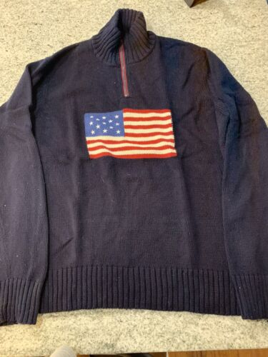 Polo Ralph Lauren Mens Sweater USA Flag XL Half Zi