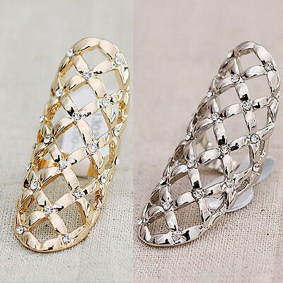 Women Lady Girl Fashion Hollow Finger Rings Shiny Crystal Gold Plated Ring Gift