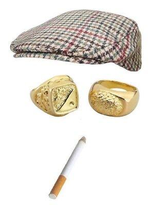 DEL BOY FLAT CAP CIGAR GOLD CHAIN BRACELET RINGS 5 Pc KIT ONLY FOOLS TROTTER