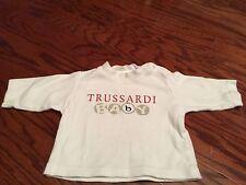Baby Boy's Trussardi Designer White Long Sleeve T-Shirt With Logo Printed