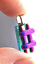 DICHROIC-Fused-Glass-Silver-PENDANT-Magenta-Pink-Verdigris-Green-Striped-Layers thumbnail 3