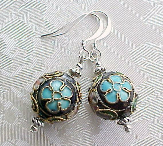 Cloisonne Earrings Black Pink Chic Shabby Marie Antoinette Romantic French Theme