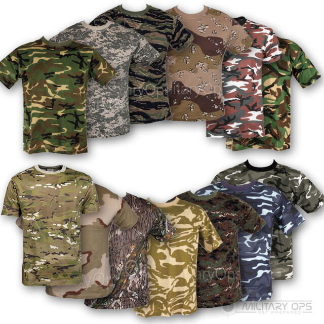 MENS MILITARY CAMOUFLAGE CAMO T SHIRT  XS - XXXL ARMY COMBAT 100% COTTON