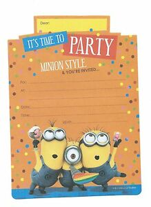 Despicable-Me-Invitations-16-Sheets-Inc-Yellow-Envelopes-Minions-Party-Supplies
