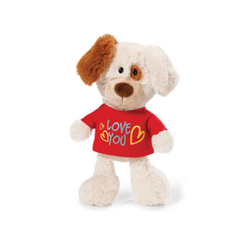 NICI Valentine Day Puppy Dog - T-Shirt Love You [20cm] Soft Plush Toy NEW