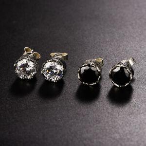 925 Sterling Silver Black Agate Stud Earrings Crusader Flower Zircon Jewelry