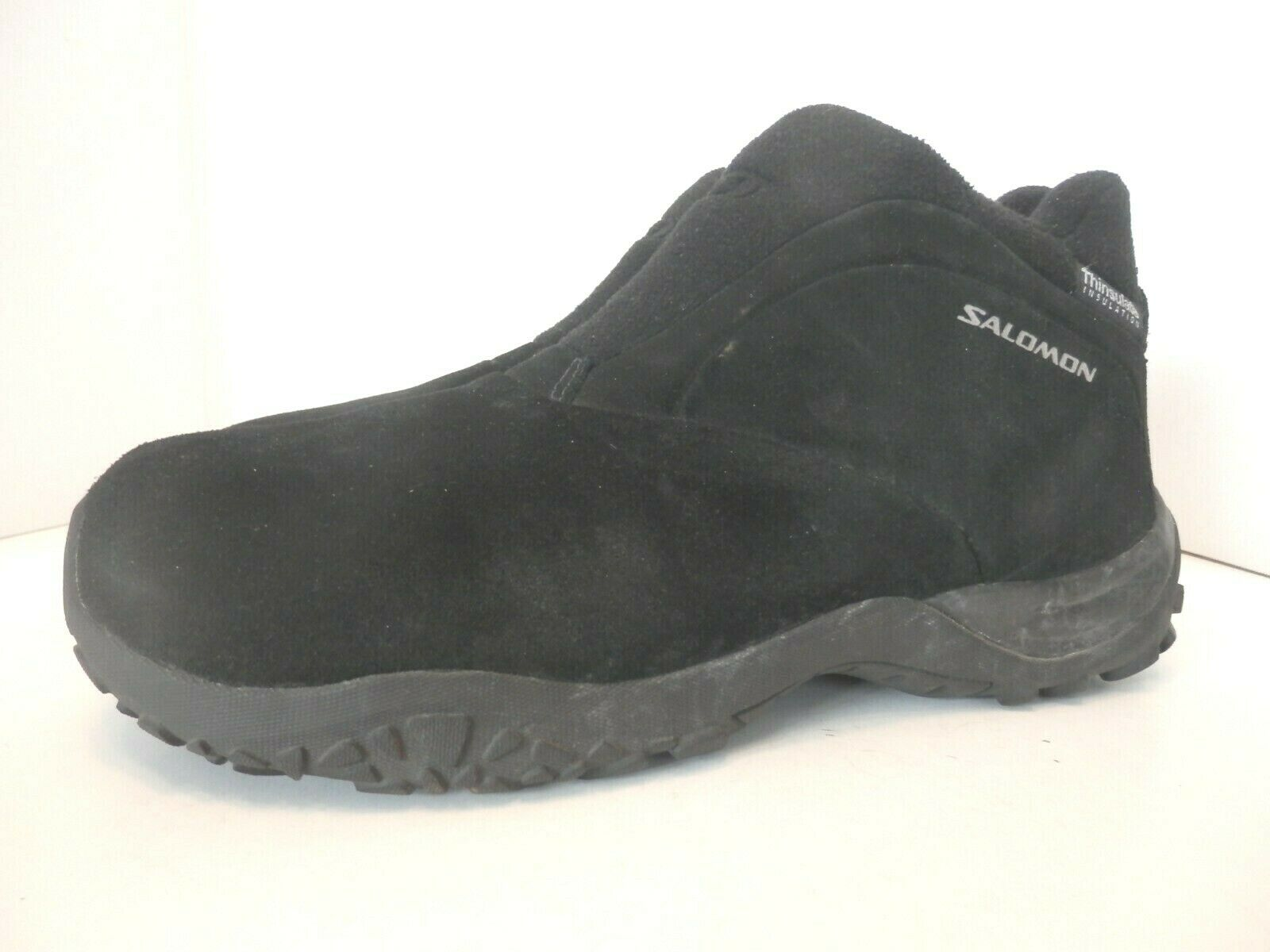 Salomon Black Suede Leather Thinsulate Slip On Trail shoes-EUC-Mens 11-FS