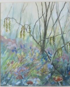 "Lorna Goodworth Gouache Painting of a coppice. (Unframed). 9.6"" x 11.6""."