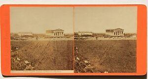 Pesto-Paestum-Italia-Foto-Stereo-Vintage-Albumina-Ca-1875