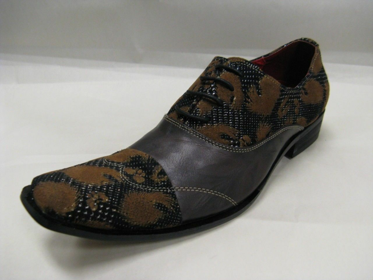 Scarpe casual da uomo  Fiesso New Brown with Leather and Fabric Cognac Flocking Design Shoes FI 8606