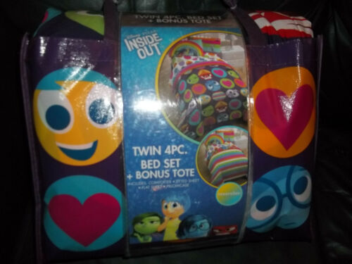 5 piece  Disney Inside OUt Reversible Comforter Twin sheets  New Bed Set Bedding